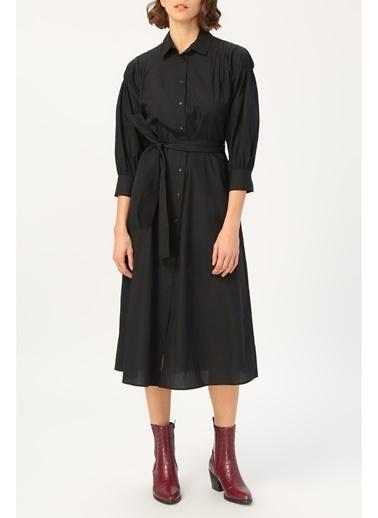Random Kadın Kol Detaylı Belden Bağlamalı Gömlek Elbise Siyah